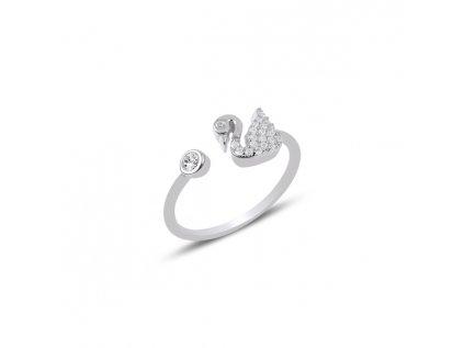 2576 Strieborný prsteň LABUŤ