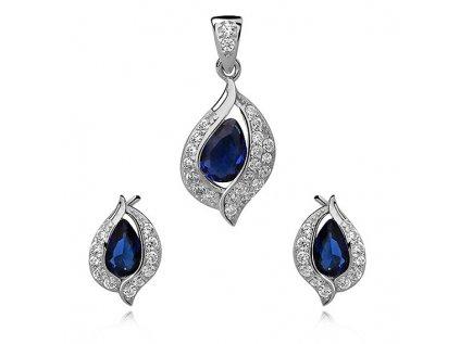 2670 Zafírová sada strieborných šperkov so zirkónmi