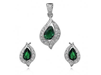 2685 Smaragdová sada strieborných šperkov so zirkónmi
