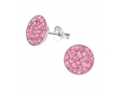 2698 Strieborné náušnice s ružovými kryštálmi