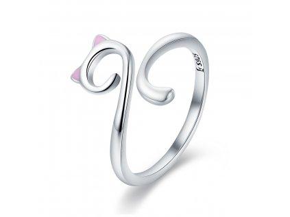 2910 Strieborný prsteň MAČKA