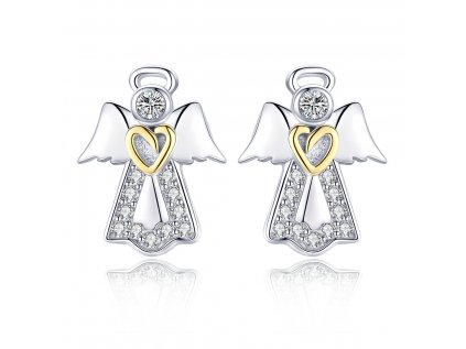 Strieborné náušnice ANJEL so zlatým srdcom