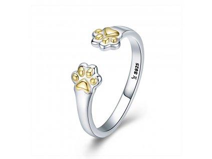 2951 Strieborný prsteň ŽLTÉ LABKY