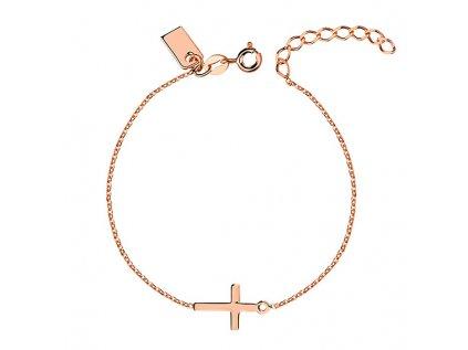 3057 Strieborný ružový náramok s krížom