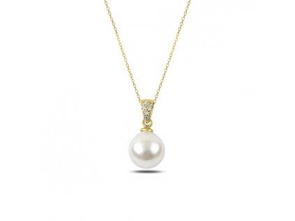 3153 Strieborná retiazka s perličkou GOLD