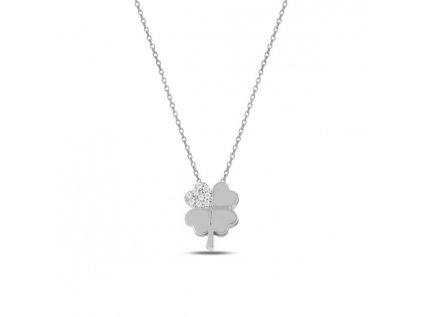 Strieborný náhrdelník ŠTVORLÍSTOK SWAROVSKI