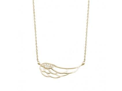 3398 Strieborný náhrdelník KRÍDLO GOLD so zirkónmi