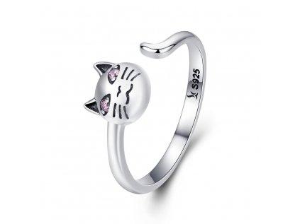 3408 Strieborný prsteň MAČKA