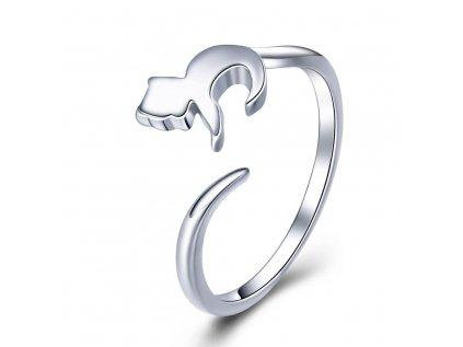 3422 MAČKA strieborný prsteň