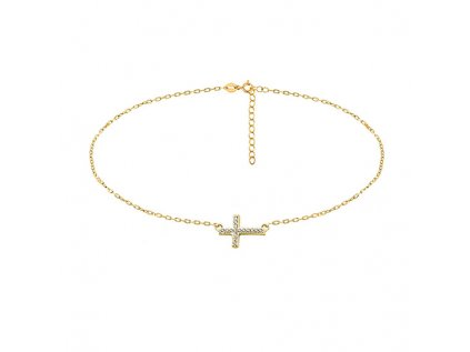 3654 CHOKER strieborný náhrdelník KRÍŽIK GOLD