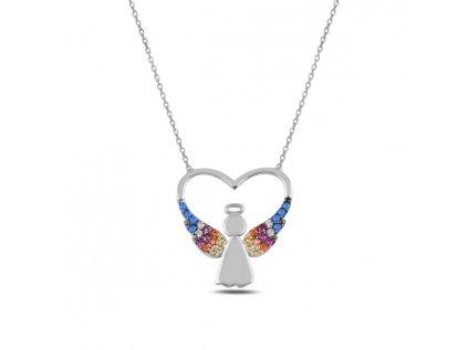 3696 Strieborný náhrdelník SRDCE S ANJELOM
