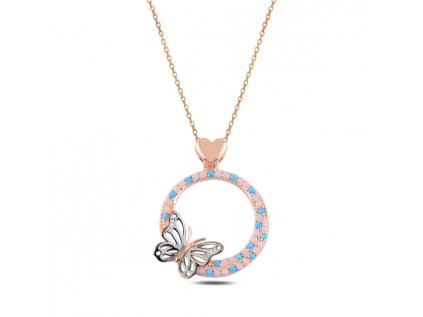 3700 Nežný strieborný náhrdelník MOTÝL ROSE