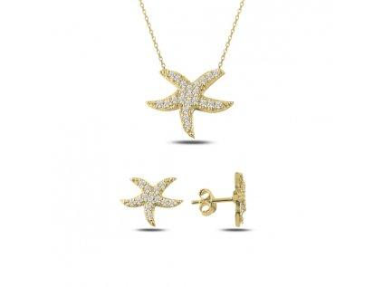 3913 Sada strieborných šperkov HVEZDICE GOLD