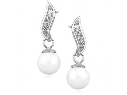 3957 Strieborné perlové náušnice