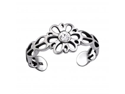 4007 Strieborný kvetinový prsteň na nohu