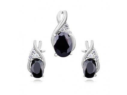 4167 Elegantná sada strieborných šperkov BLACK