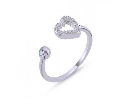 4043 Stieborný prsteň SRDCE - nastavitelná veľkosť