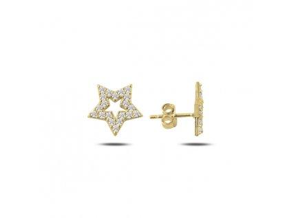 Stříbrné náušnice HVĚZDA GOLD zlacené od OLIVIE