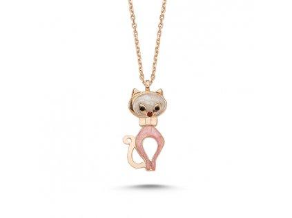 Mačací ružový náhrdelník