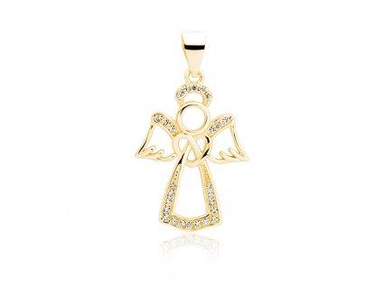 15266 stribrny pozlaceny privesek andel gold se zirkony od olivie
