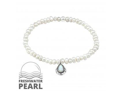 16004 stribrny naramek se sladkovodnimi perlami a opalem