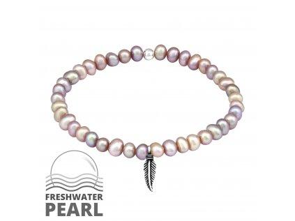 16010 stribrny naramek se sladkovodnimi perlami a pirkem