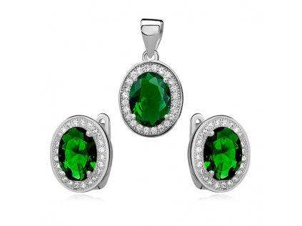 16271 stribrna sada se smaragdovym zirkonem od olivie