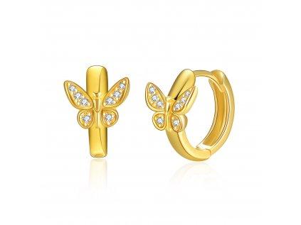 16595 stribrne detske nausnice krouzky zlaty motyl pozlacene olivie