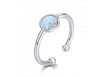16694 stribrny prsten bily opal s kockou od olivie