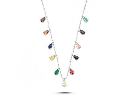 16961 stribrny nahrdelnik colors s barevnymi zirkony od olivie nastavitelna delka retizku