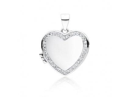 17162 stribrny oteviraci medailonek srdce lze do nej vlozit fotografii olivie