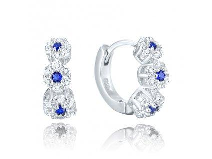 17300 stribrne luxusni krouzky modre kvety od olivie