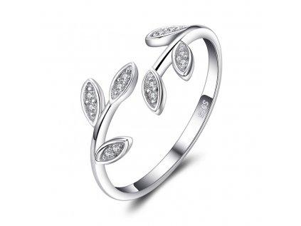 17405 4 stribrny prsten vetvicka se zirkony od olivie nastavitelny