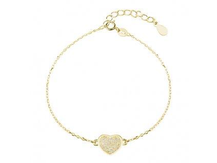 17618 stribrny naramek srdicko gold pozlaceny se zirkony od olivie darek z lasky pro zenu manzelku partnerku pritelkyni sestru dceru
