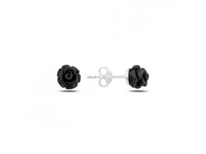 17786 stribrne nausnice rozarie black od olivie cerna ruze ruzicka