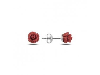 17986 1 stribrne nausnice rozarie cervena ruzicka od olivie