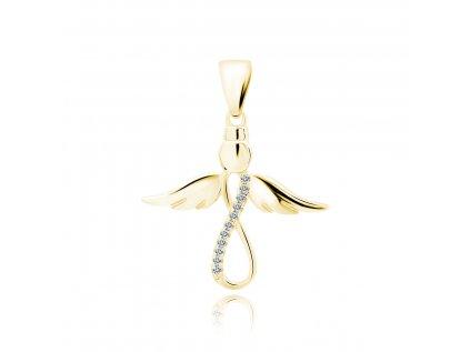 18520 stribrny privesek zlaty andel se symbolem nekonecno od olivie cz
