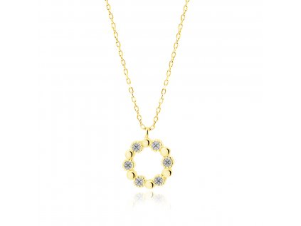 18667 stribrny nahrdelnik kruh gold pozlaceny se zirkony od olivie cz