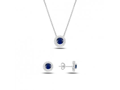 18754 sada stribrnych sperku safir modry zirkon od olivie cz