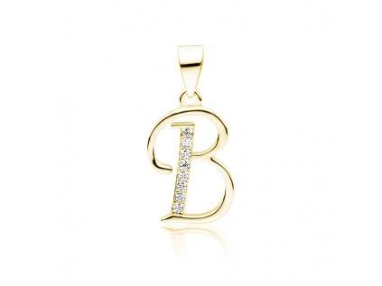 19090 pismeno b stribrny privesek gold pozlaceny od olivie