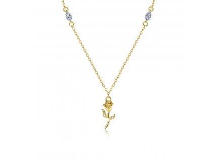 5364 Strieborný náhrdelník ZLATÁ RUŽA