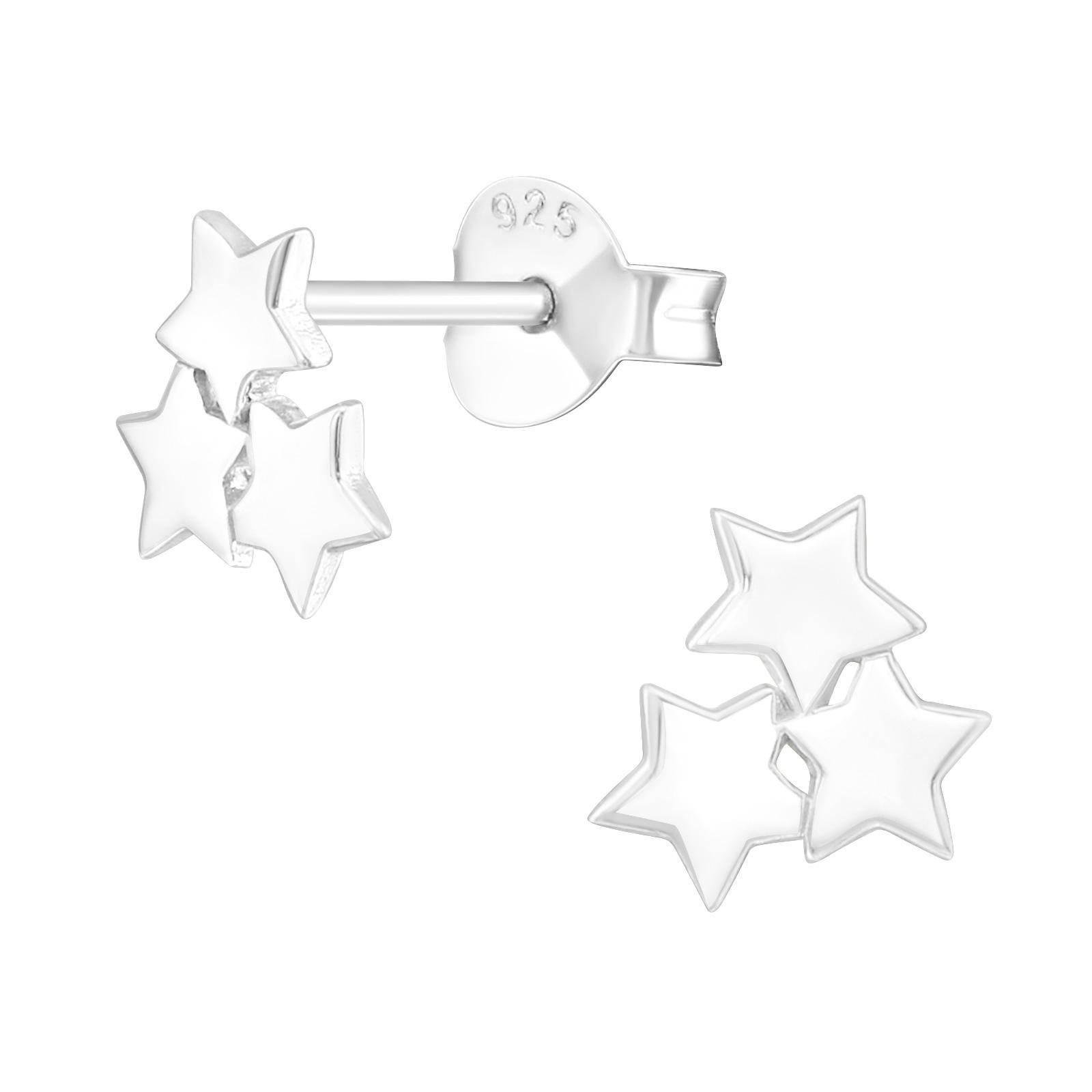 OLIVIE Strieborné náušnice HVIEZDIČKY 3617 Ag 925; ≤0,6 g.