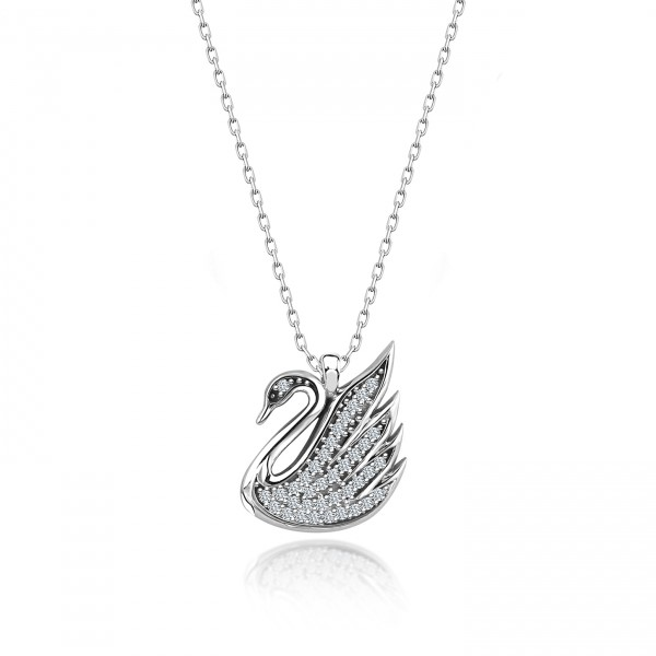OLIVIE Strieborný náhrdelník LABUŤ Swarovski 3707 Ag 925; ≤3,2 g.
