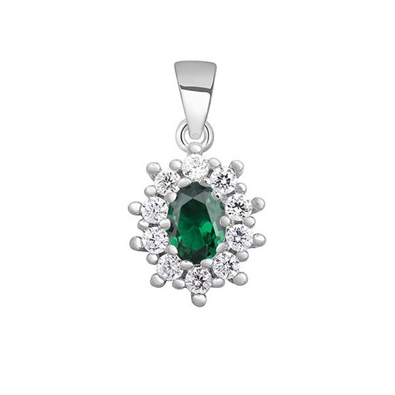 OLIVIE Strieborný smaragdový prívesok 4347 Ag 925; ≤1,7 g.