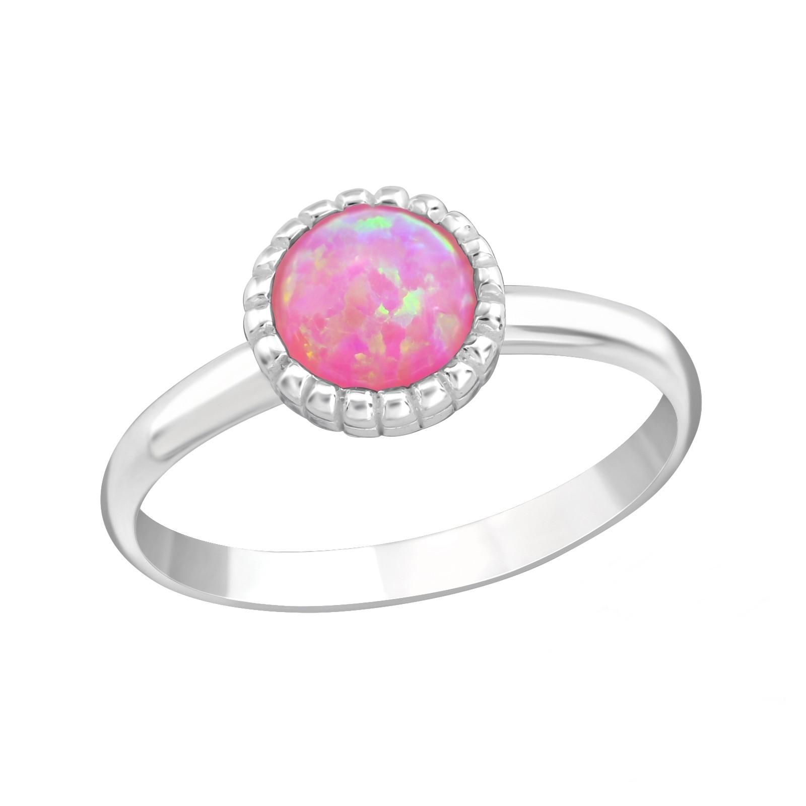 OLIVIE Detský strieborný prsteň RUŽOVÝ OPÁL 4414 Ag 925; ≤0,9 g.