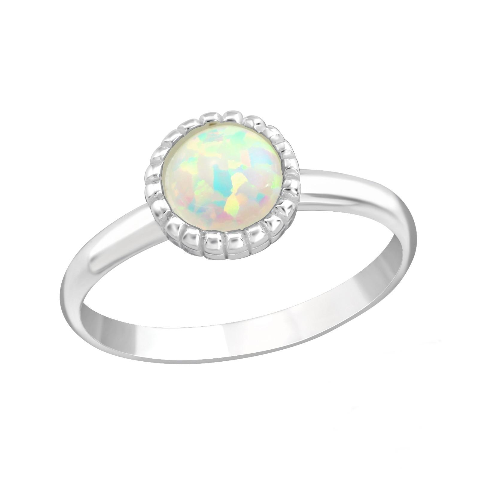 OLIVIE Detský strieborný prsteň BIELY OPÁL 4415 Ag 925; ≤1 g.