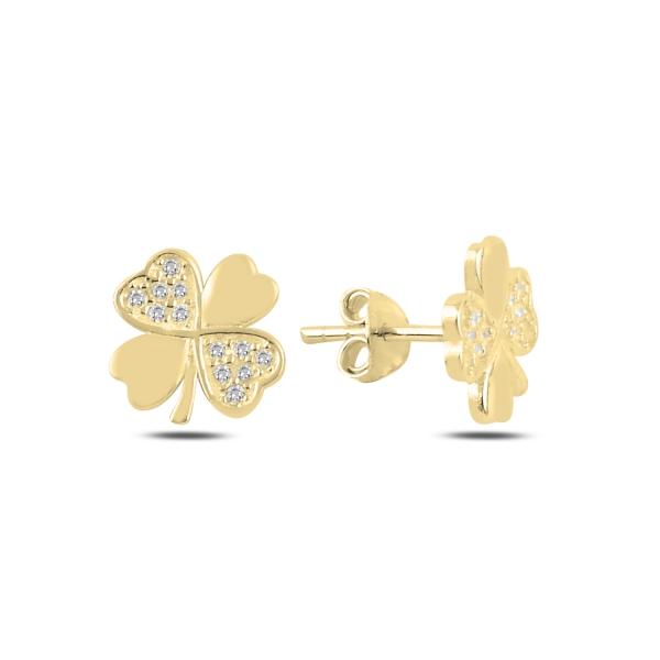 OLIVIE Strieborné náušnice ŠTVORLÍSTOK GOLD 4993 Ag 925; ≤1,3 g.