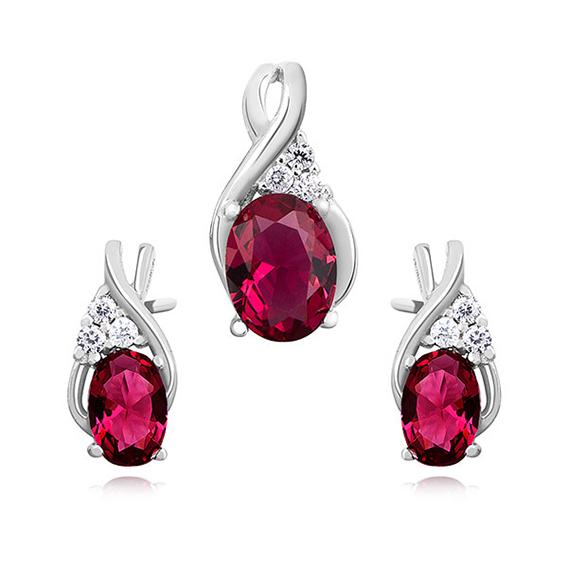 OLIVIE Sada strieborných šperkov RUBY 5155 Ag 925; ≤2,9 g.