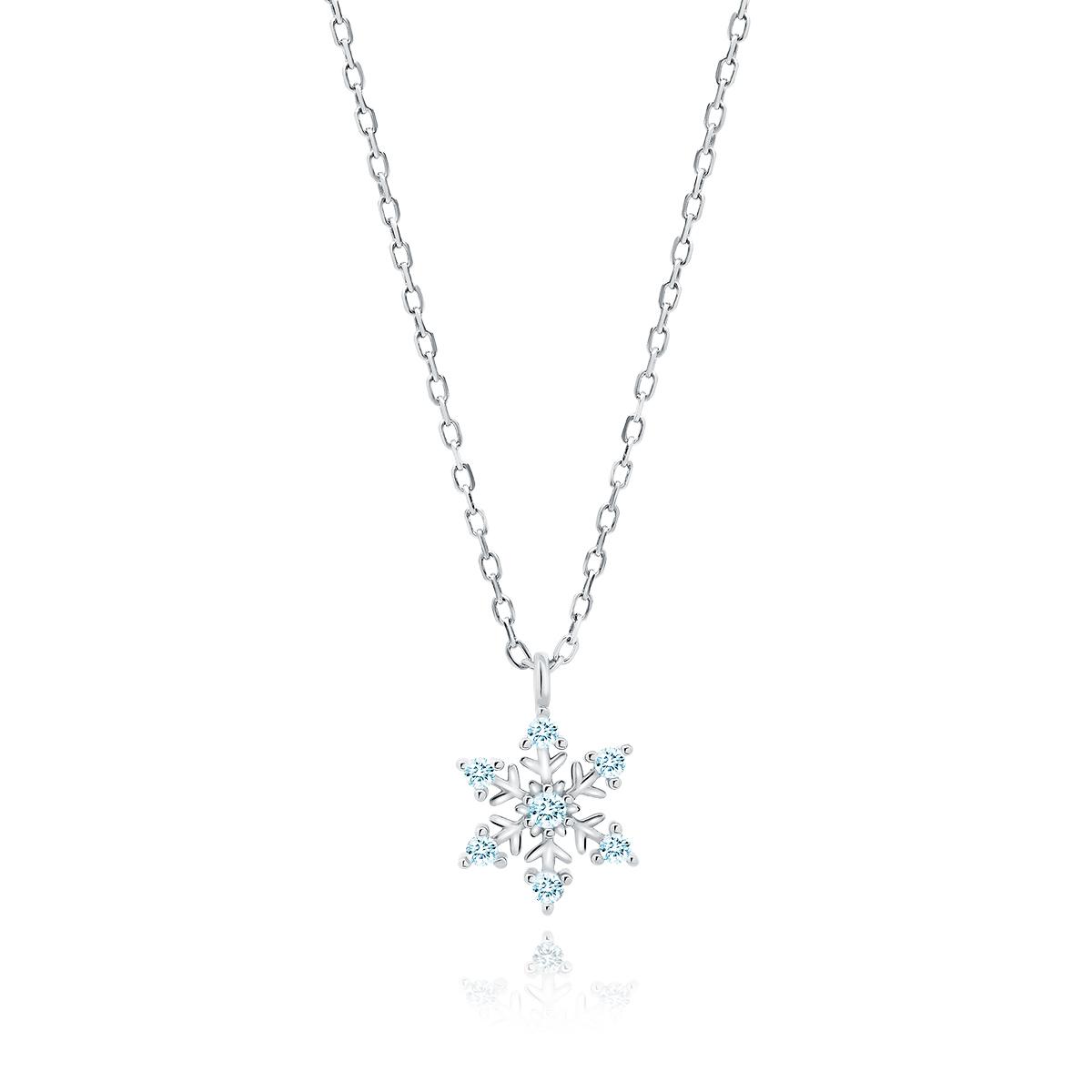 OLIVIE Strieborný náhrdelník MODRÁ SNEHOVÁ VLOČKA 5278 Ag 925; ≤1,6 g.