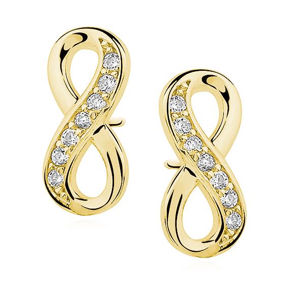 OLIVIE Strieborné náušnice NEKONEČNO GOLD 5283 Ag 925; ≤1,1 g.